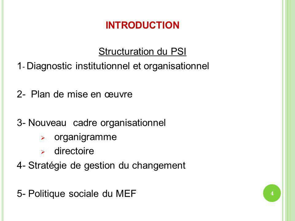 INTRODUCTION Structuration du PSI. 1- Diagnostic institutionnel et organisationnel. 2- Plan de mise en œuvre.