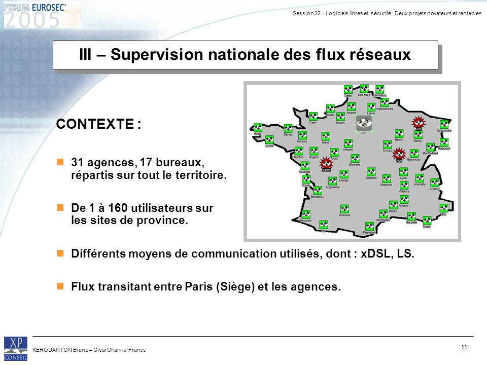 III – Supervision nationale des flux réseaux