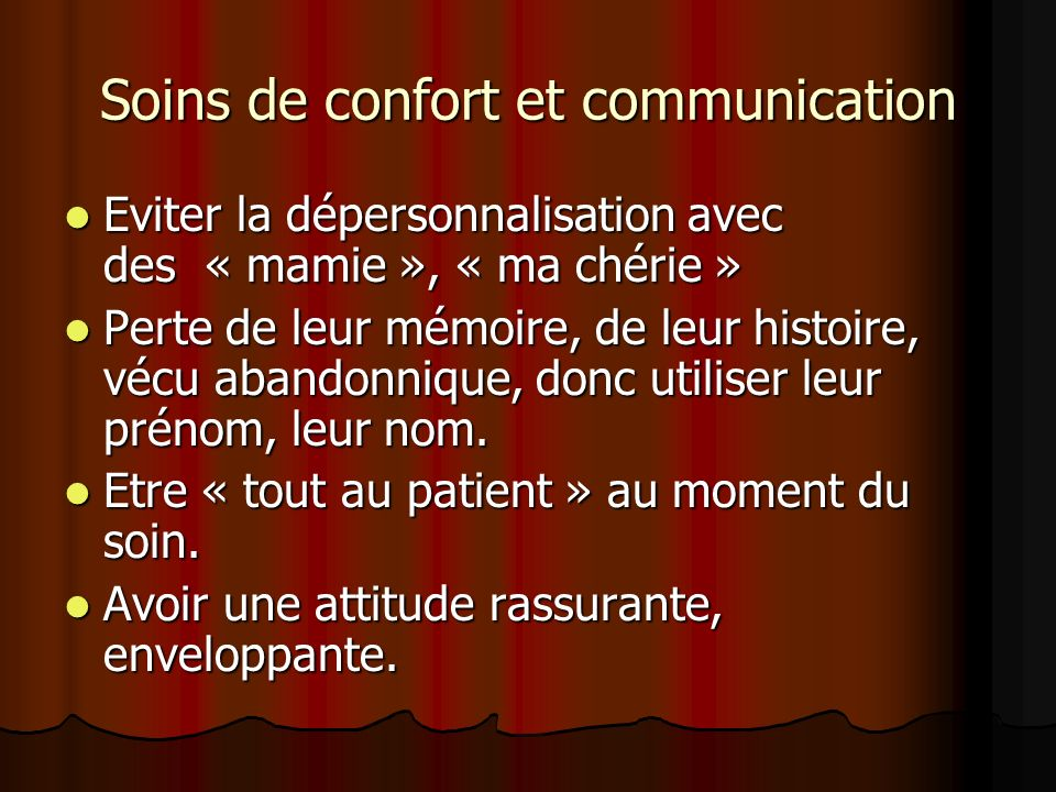 Soins de confort et communication