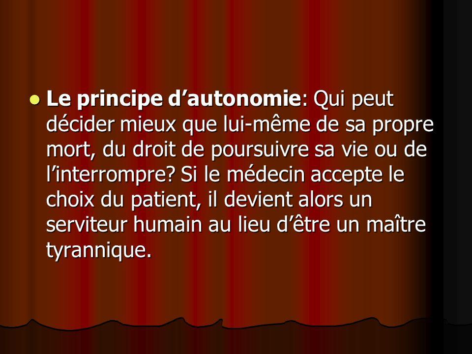 Le principe d'autonomie: Qui peut décider mieux que lui-même de sa propre mort, du droit de poursuivre sa vie ou de l'interrompre.