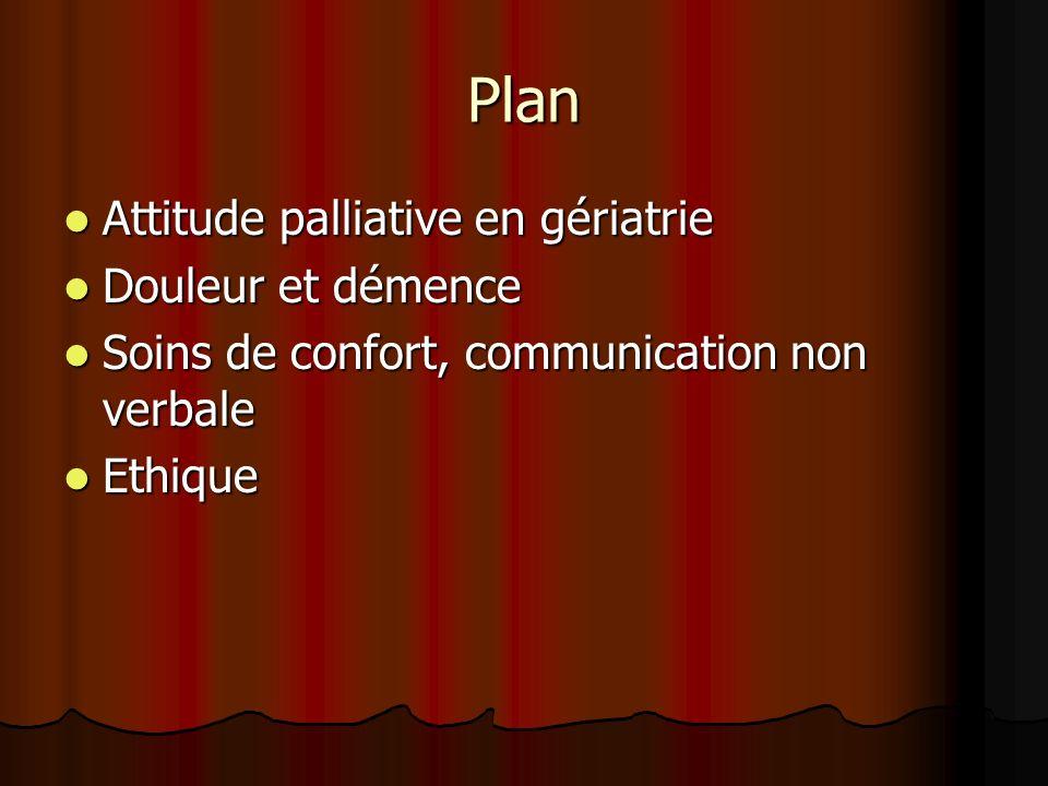 Plan Attitude palliative en gériatrie Douleur et démence