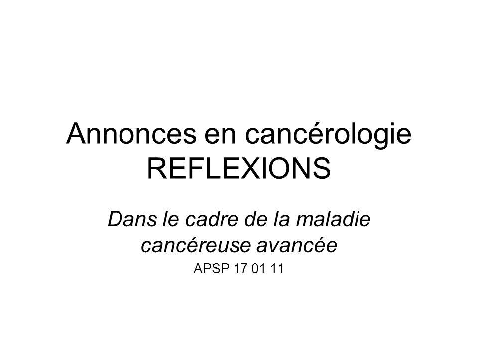 Annonces en cancérologie REFLEXIONS