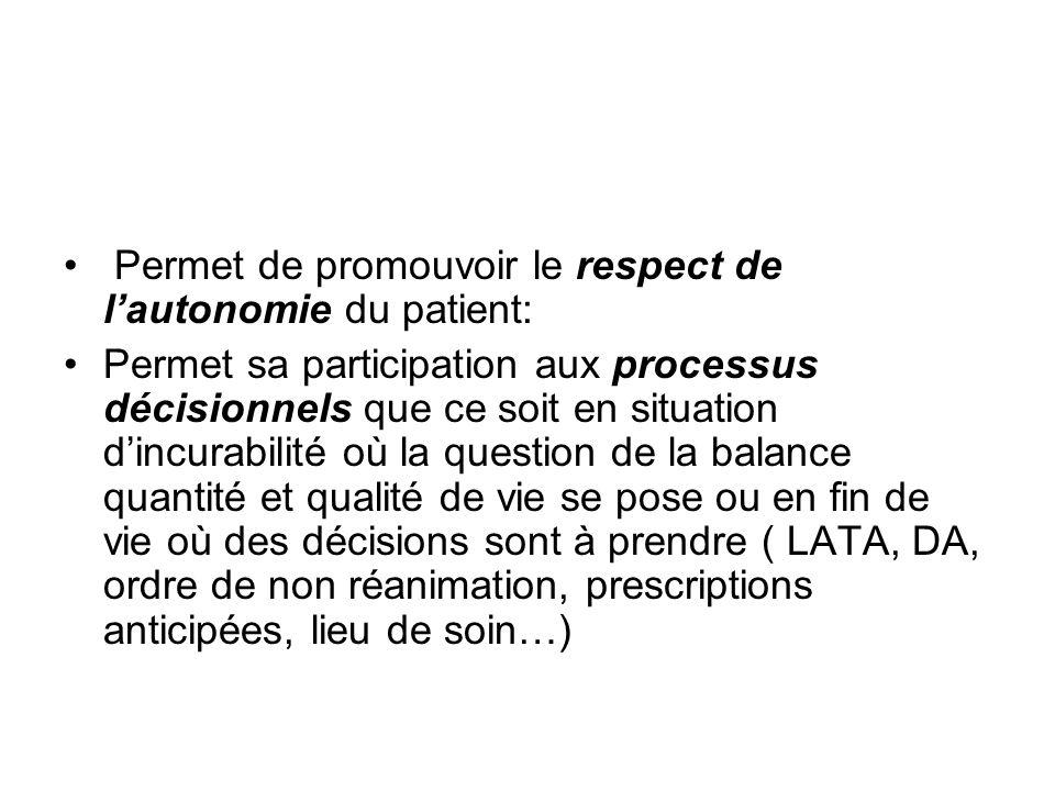 Permet de promouvoir le respect de l'autonomie du patient: