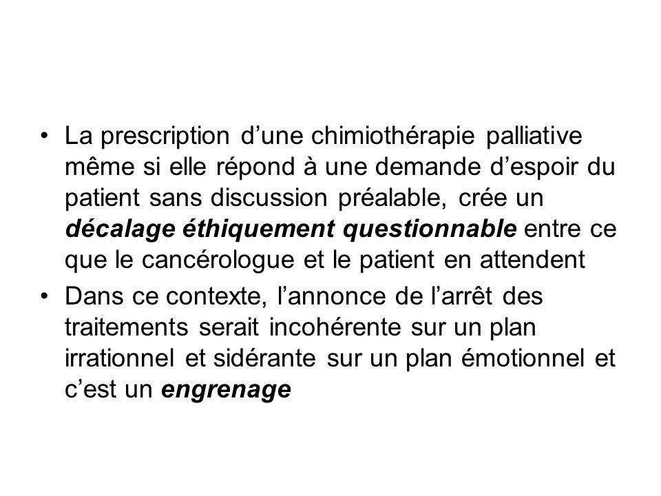 La prescription d'une chimiothérapie palliative même si elle répond à une demande d'espoir du patient sans discussion préalable, crée un décalage éthiquement questionnable entre ce que le cancérologue et le patient en attendent