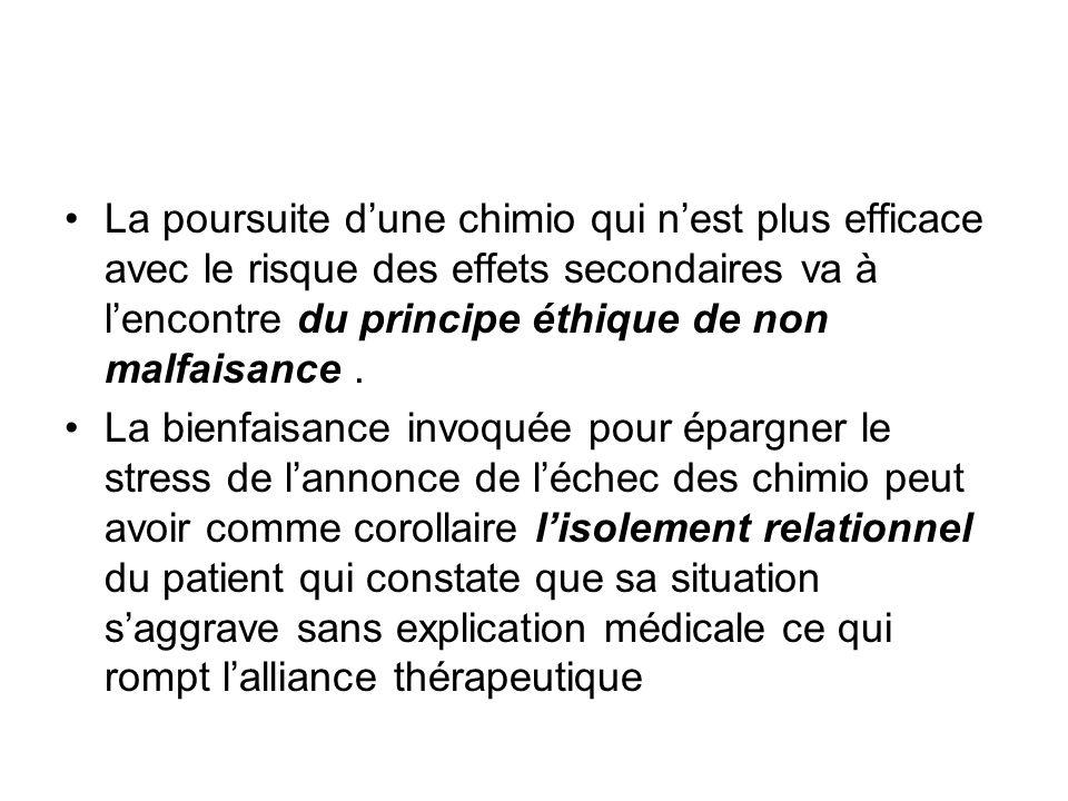 La poursuite d'une chimio qui n'est plus efficace avec le risque des effets secondaires va à l'encontre du principe éthique de non malfaisance .