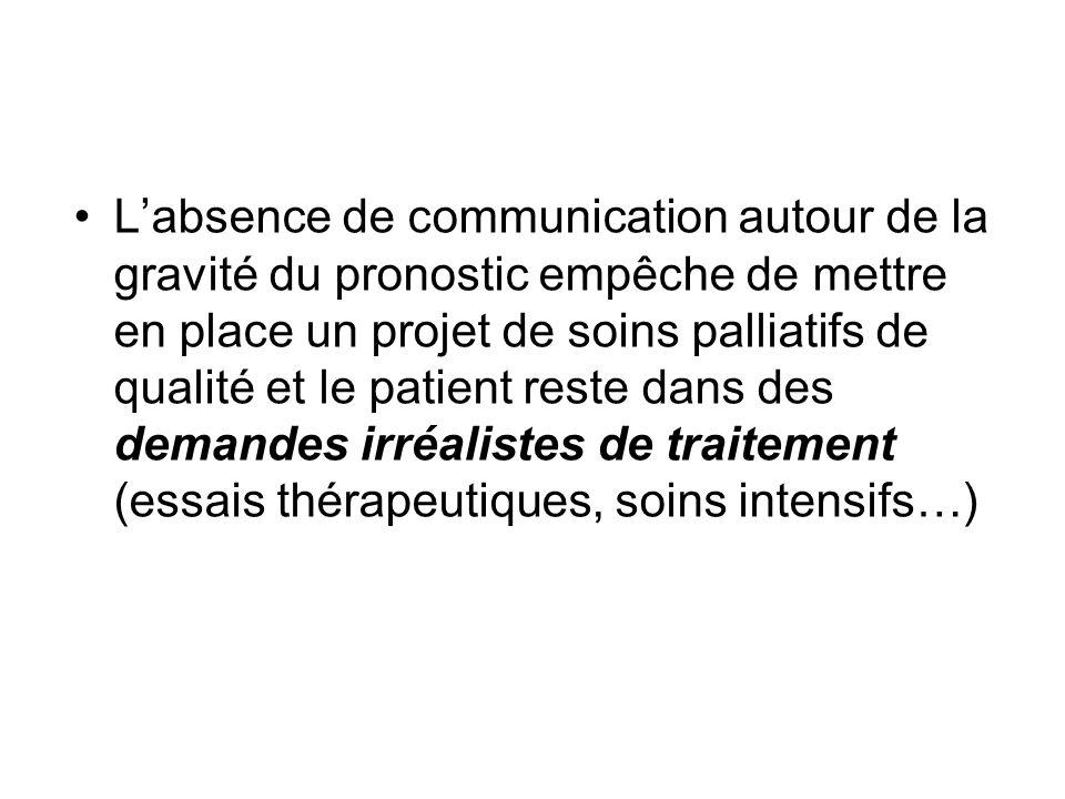 L'absence de communication autour de la gravité du pronostic empêche de mettre en place un projet de soins palliatifs de qualité et le patient reste dans des demandes irréalistes de traitement (essais thérapeutiques, soins intensifs…)