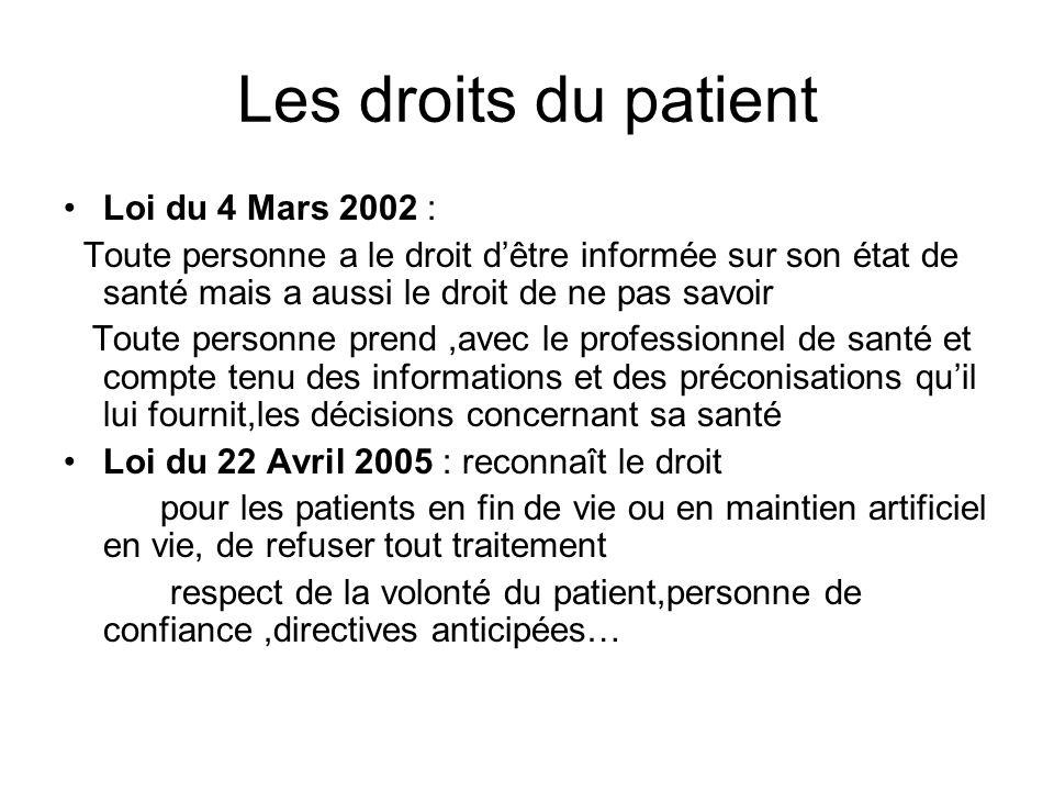 Les droits du patient Loi du 4 Mars 2002 :