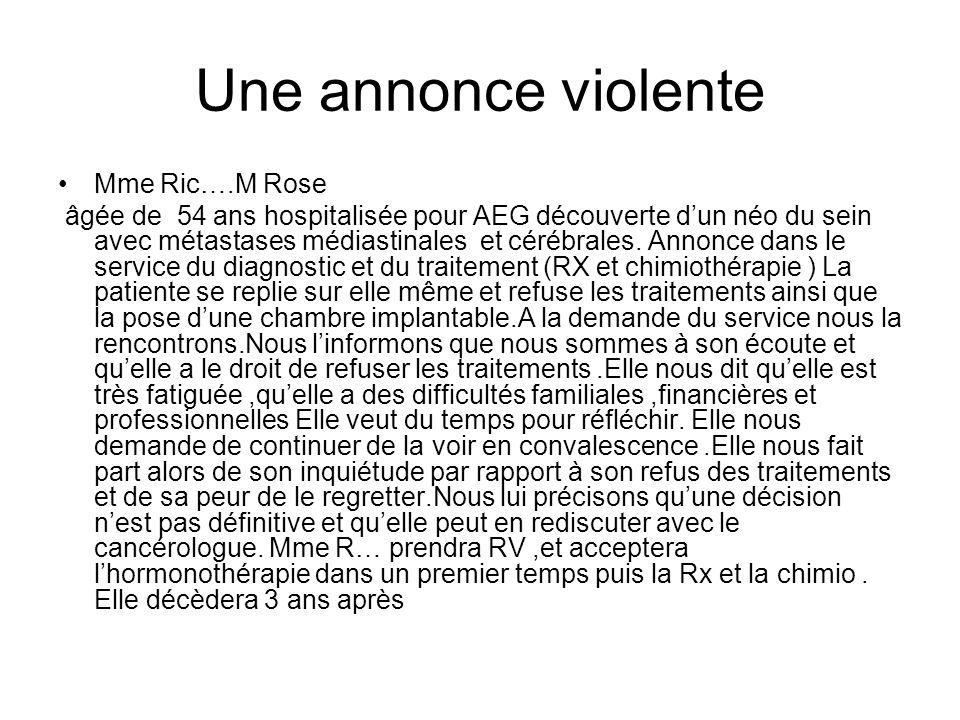 Une annonce violente Mme Ric….M Rose
