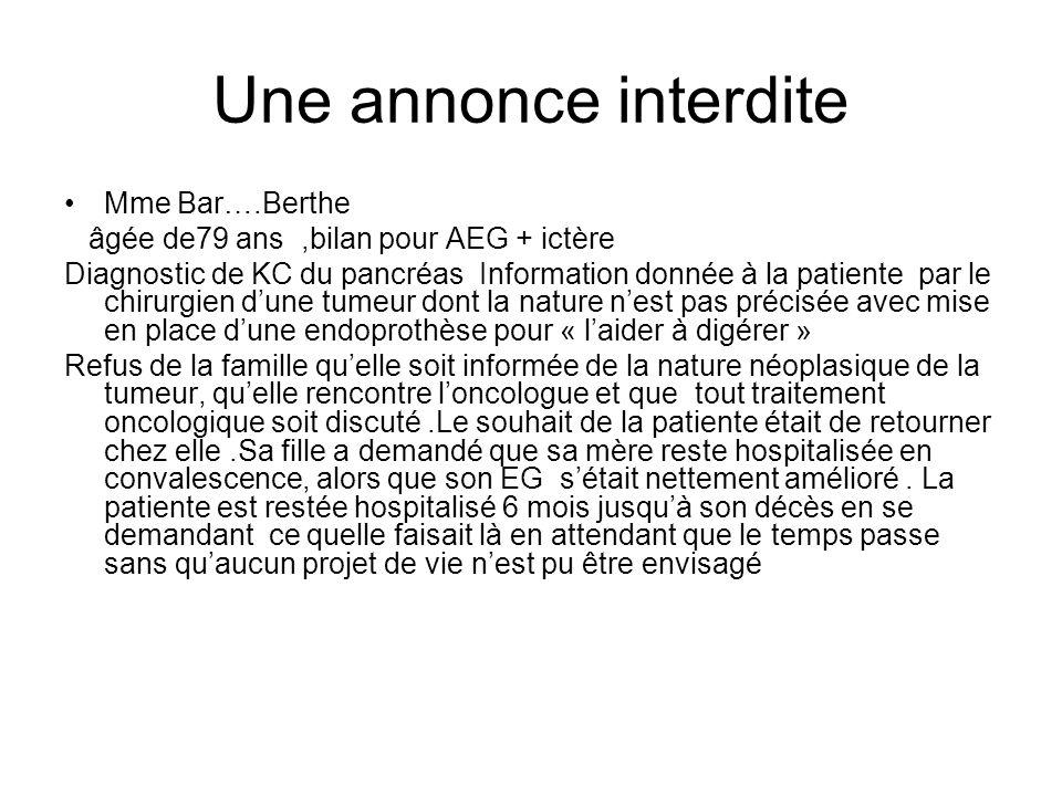Une annonce interdite Mme Bar….Berthe