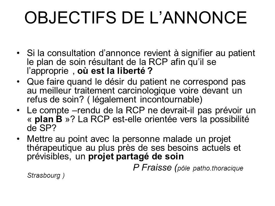 OBJECTIFS DE L'ANNONCE