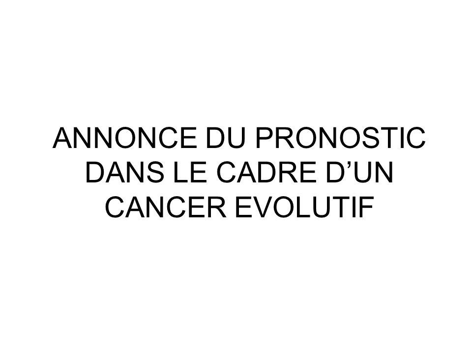 ANNONCE DU PRONOSTIC DANS LE CADRE D'UN CANCER EVOLUTIF