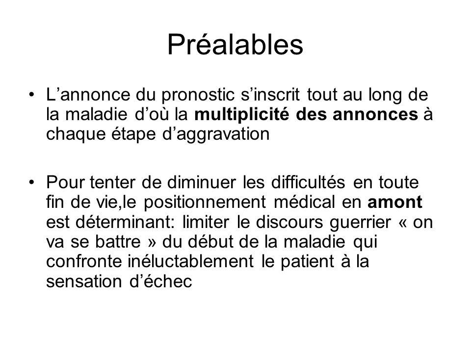 Préalables L'annonce du pronostic s'inscrit tout au long de la maladie d'où la multiplicité des annonces à chaque étape d'aggravation.
