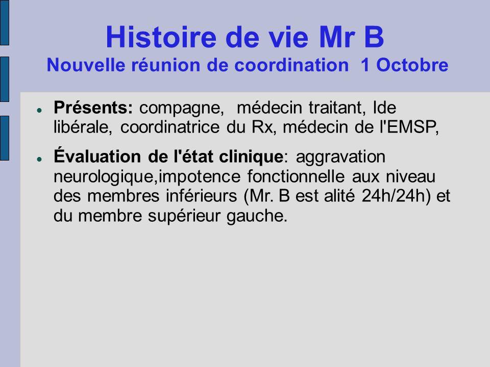 Histoire de vie Mr B Nouvelle réunion de coordination 1 Octobre