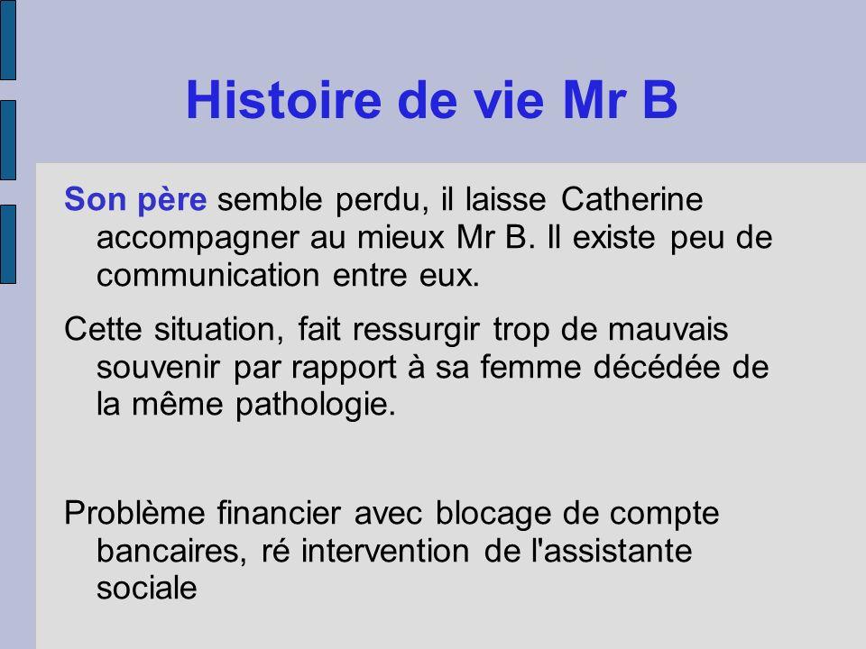 Histoire de vie Mr BSon père semble perdu, il laisse Catherine accompagner au mieux Mr B. Il existe peu de communication entre eux.