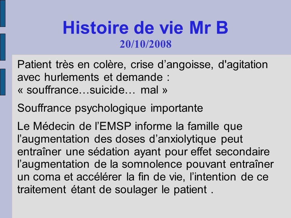 Histoire de vie Mr B 20/10/2008. Patient très en colère, crise d'angoisse, d agitation avec hurlements et demande : « souffrance…suicide… mal »