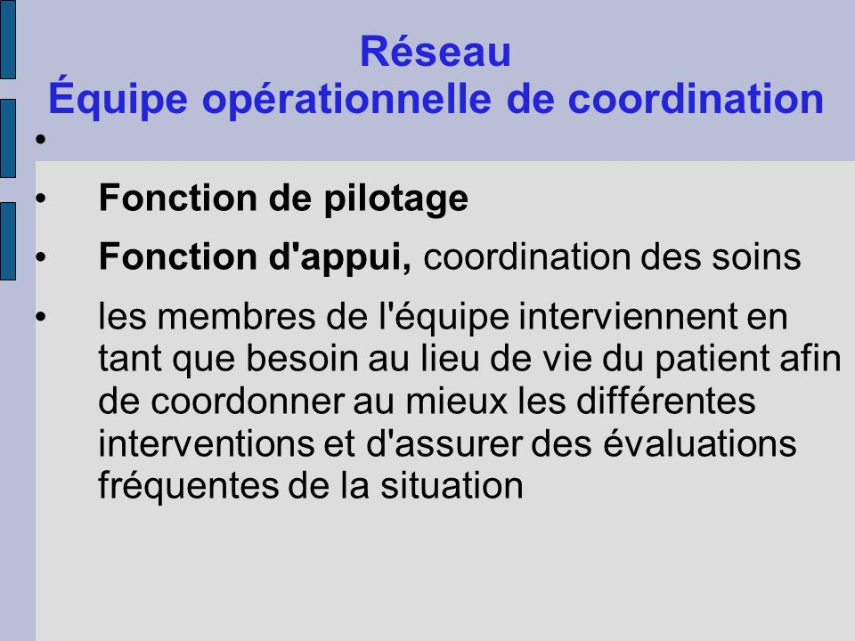 Réseau Équipe opérationnelle de coordination