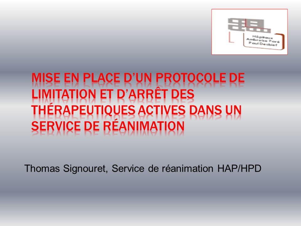 Mise en place d'un protocole de limitation et d'arrêt des thérapeutiques actives dans un service de réanimation