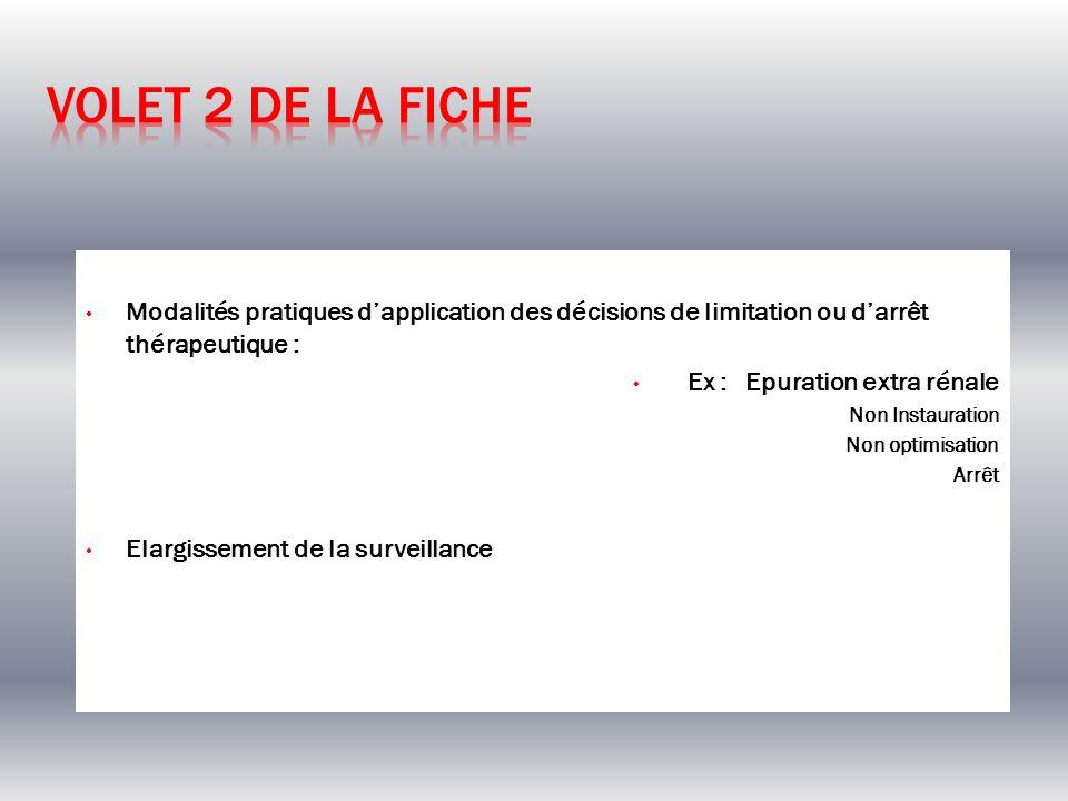 Volet 2 de la ficheModalités pratiques d'application des décisions de limitation ou d'arrêt thérapeutique :