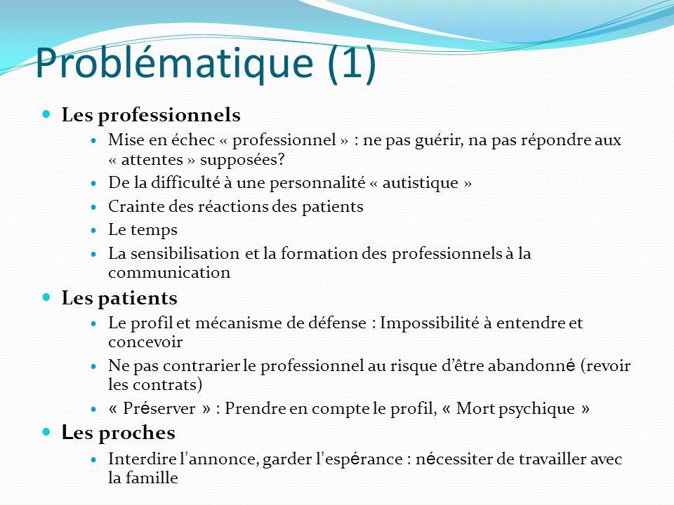 Problématique (1) Les professionnels Les patients Les proches