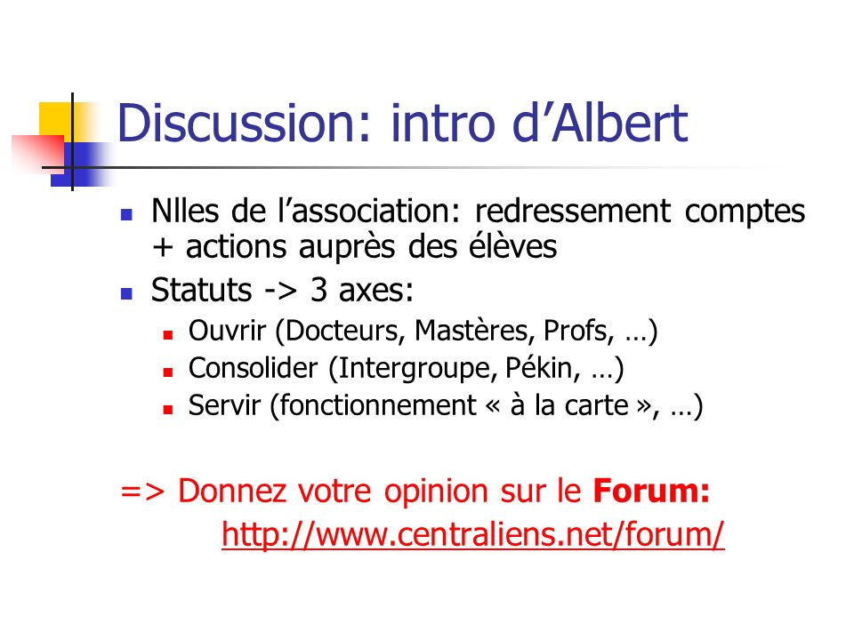 Discussion: intro d'Albert
