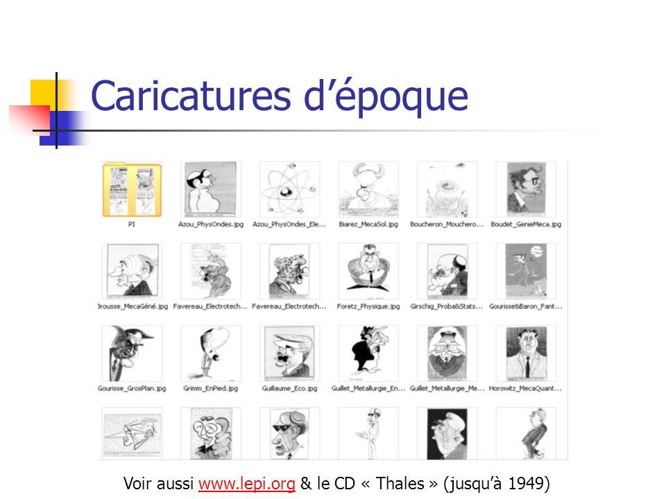 Caricatures d'époque Voir aussi www.lepi.org & le CD « Thales » (jusqu'à 1949)