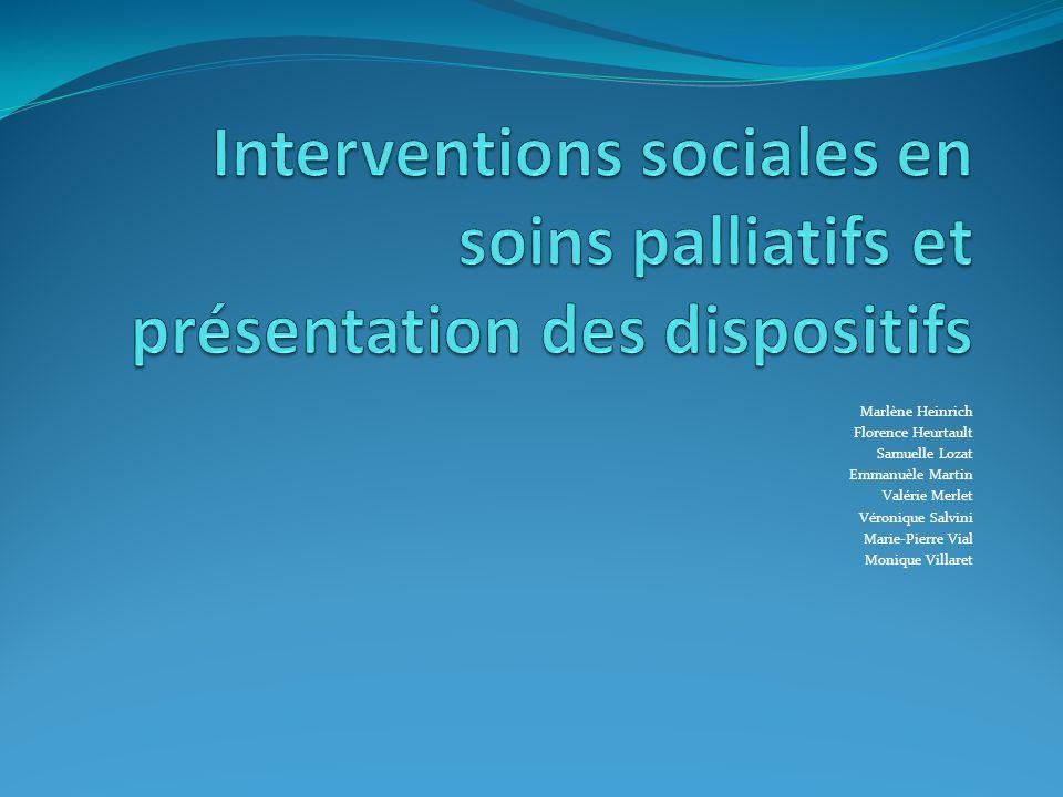 Interventions sociales en soins palliatifs et présentation des dispositifs