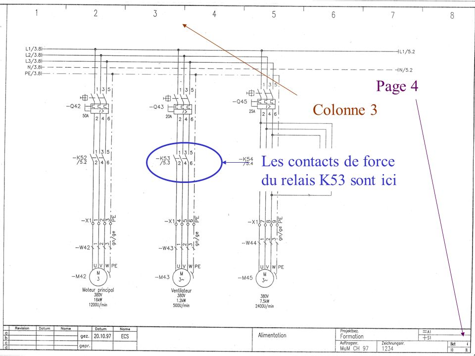 Page 4 Colonne 3 Les contacts de force du relais K53 sont ici