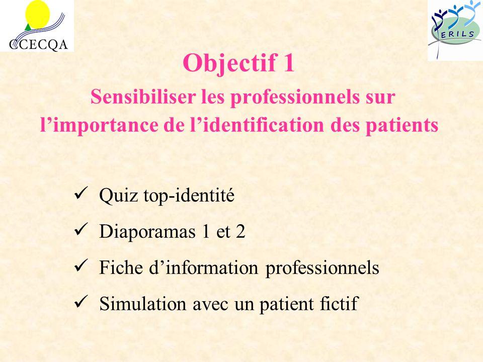 Objectif 1 Sensibiliser les professionnels sur l'importance de l'identification des patients