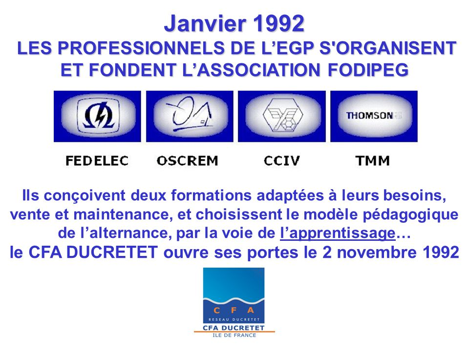Janvier 1992 LES PROFESSIONNELS DE L'EGP S ORGANISENT