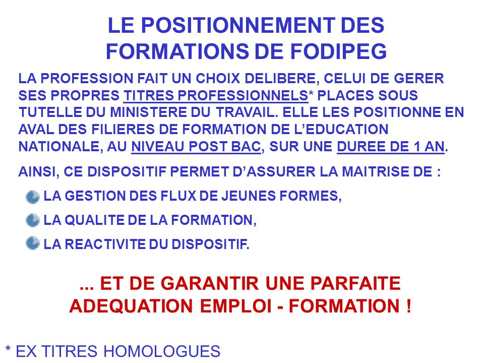 LE POSITIONNEMENT DES FORMATIONS DE FODIPEG