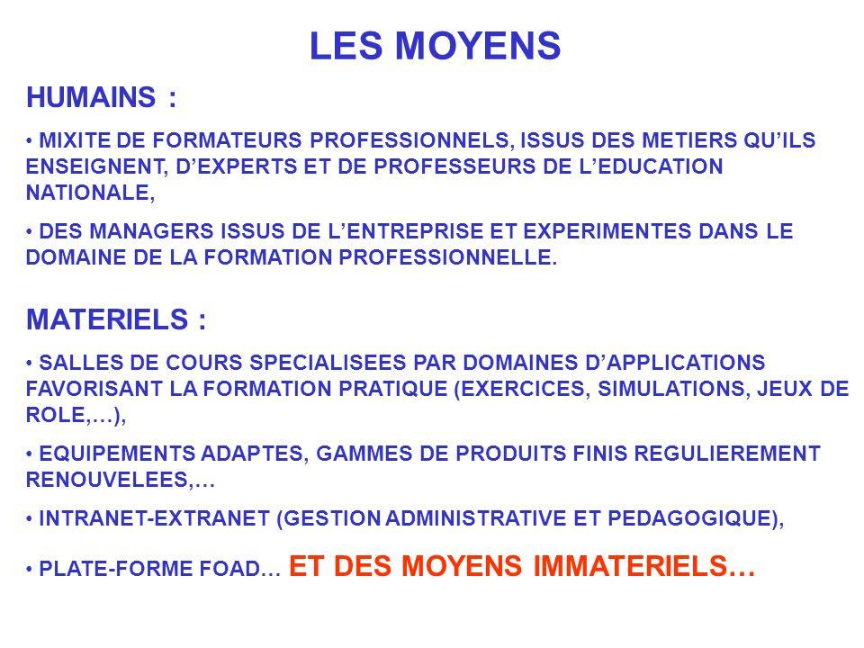 LES MOYENS HUMAINS : MATERIELS :
