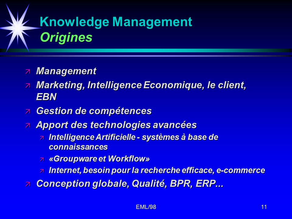 Knowledge Management Origines