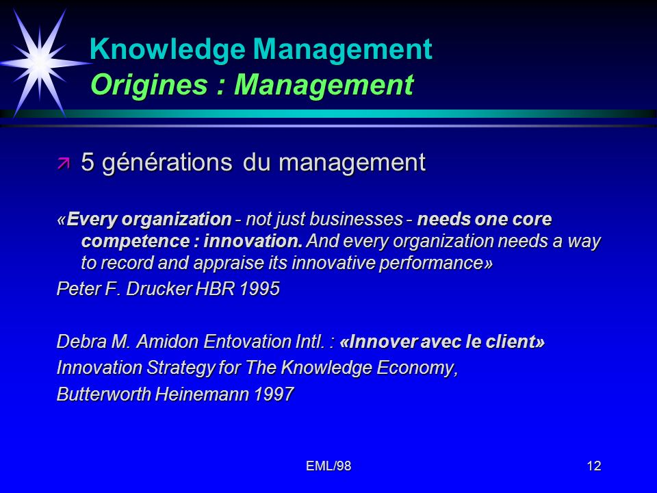 Knowledge Management Origines : Management
