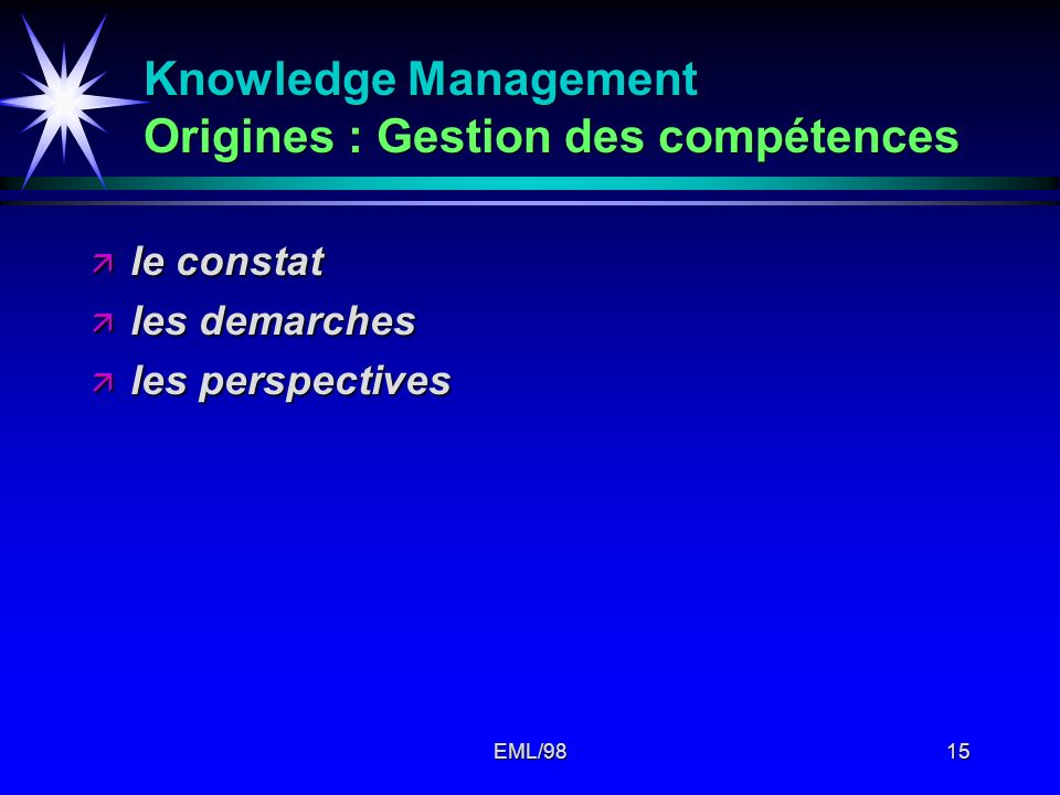 Knowledge Management Origines : Gestion des compétences