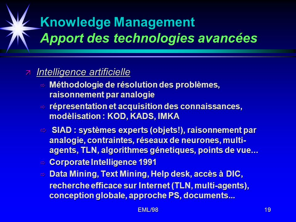 Knowledge Management Apport des technologies avancées