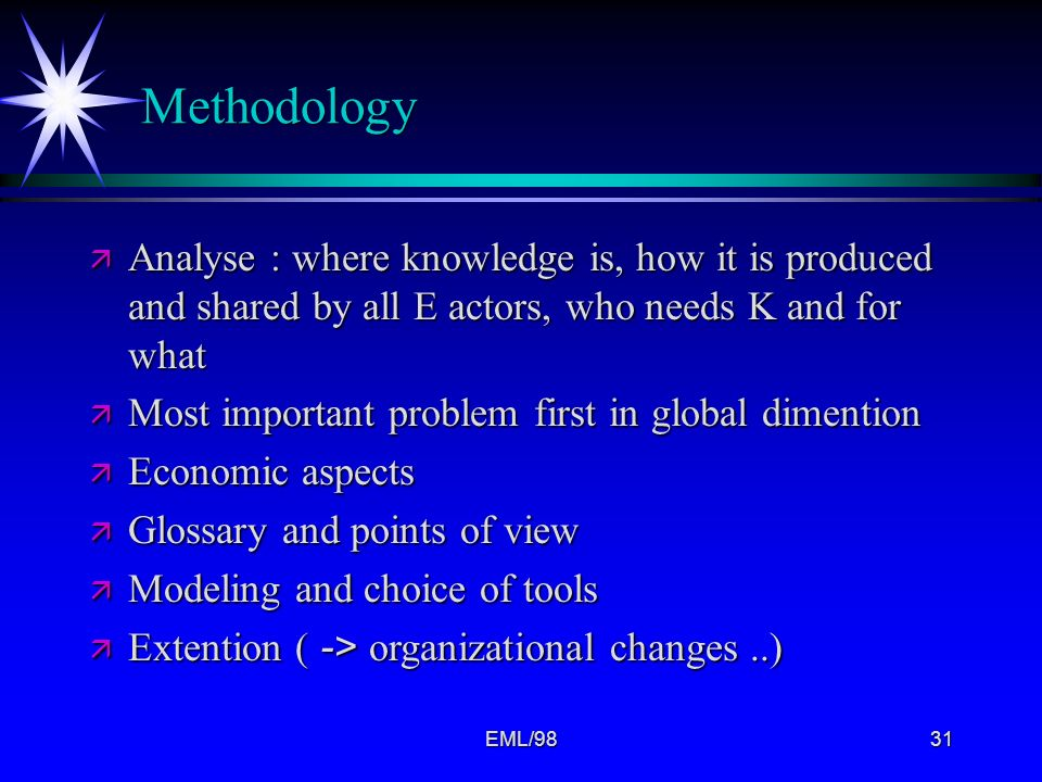 Methodology Analyse : where knowledge is, how it is produced and shared by all E actors, who needs K and for what.
