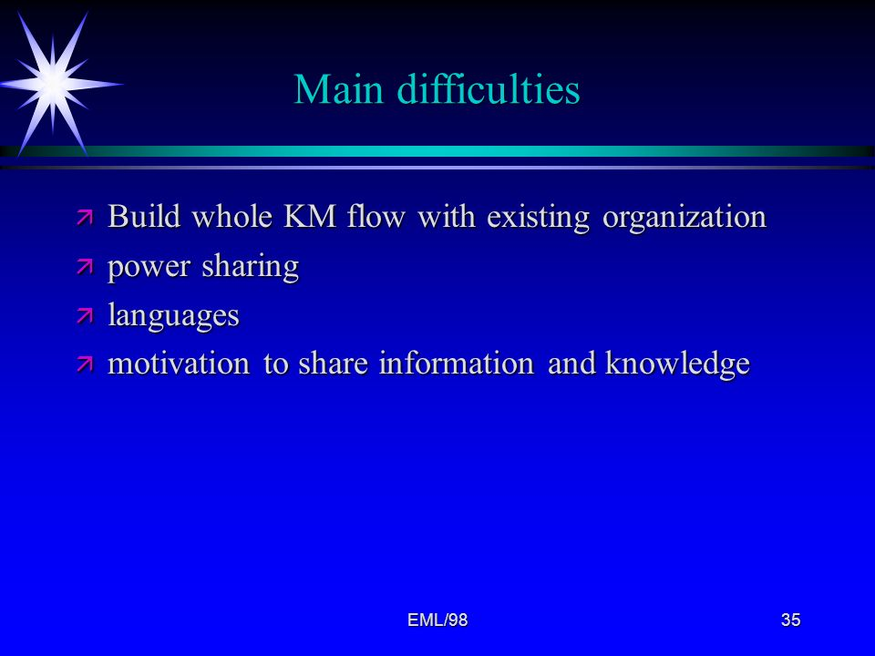 Main difficulties Build whole KM flow with existing organization