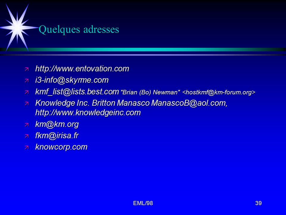 Quelques adresses http://www.entovation.com i3-info@skyrme.com