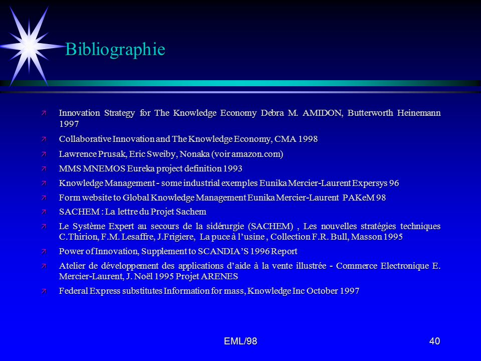 Bibliographie Innovation Strategy for The Knowledge Economy Debra M. AMIDON, Butterworth Heinemann 1997.