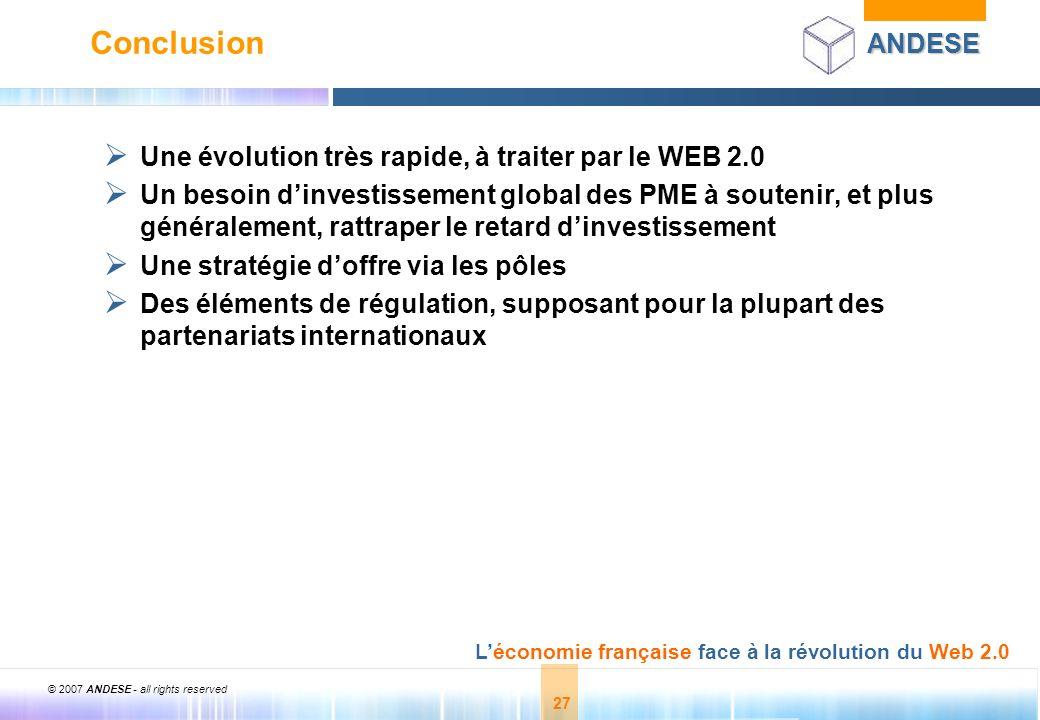 Conclusion Une évolution très rapide, à traiter par le WEB 2.0