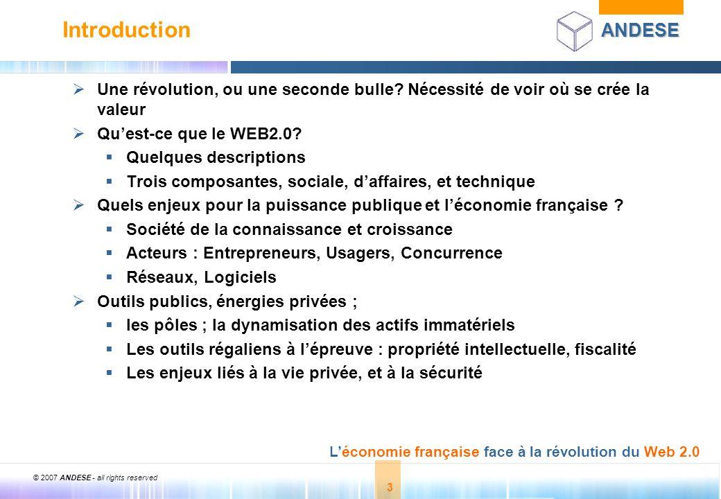Introduction Une révolution, ou une seconde bulle Nécessité de voir où se crée la valeur. Qu'est-ce que le WEB2.0