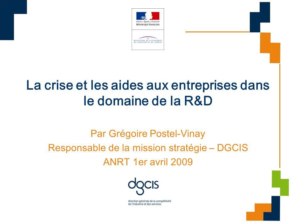 La crise et les aides aux entreprises dans le domaine de la R&D
