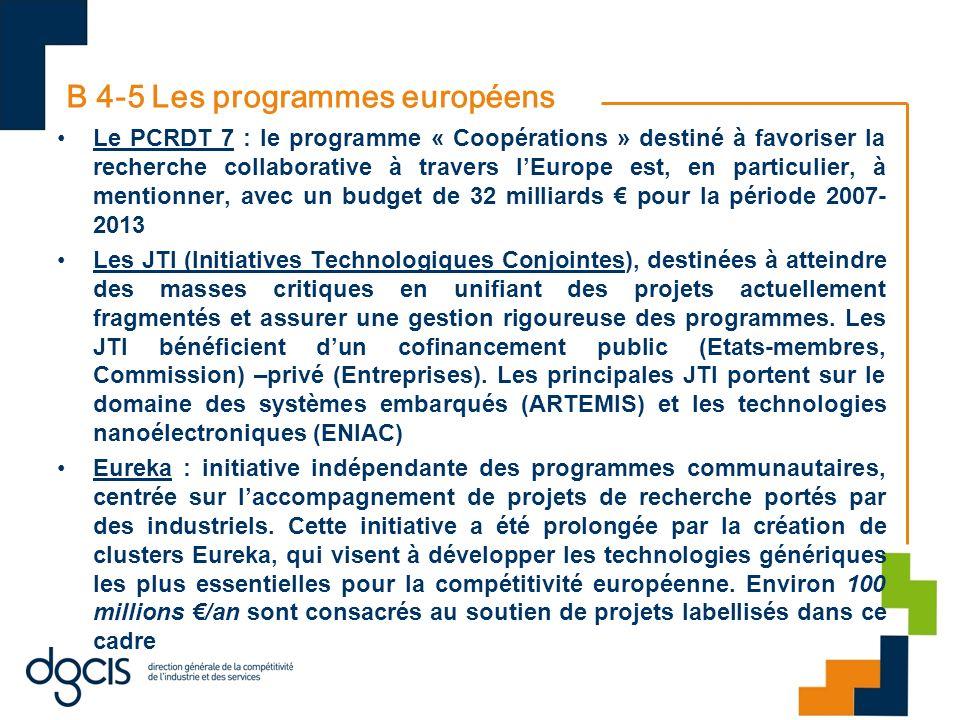 B 4-5 Les programmes européens