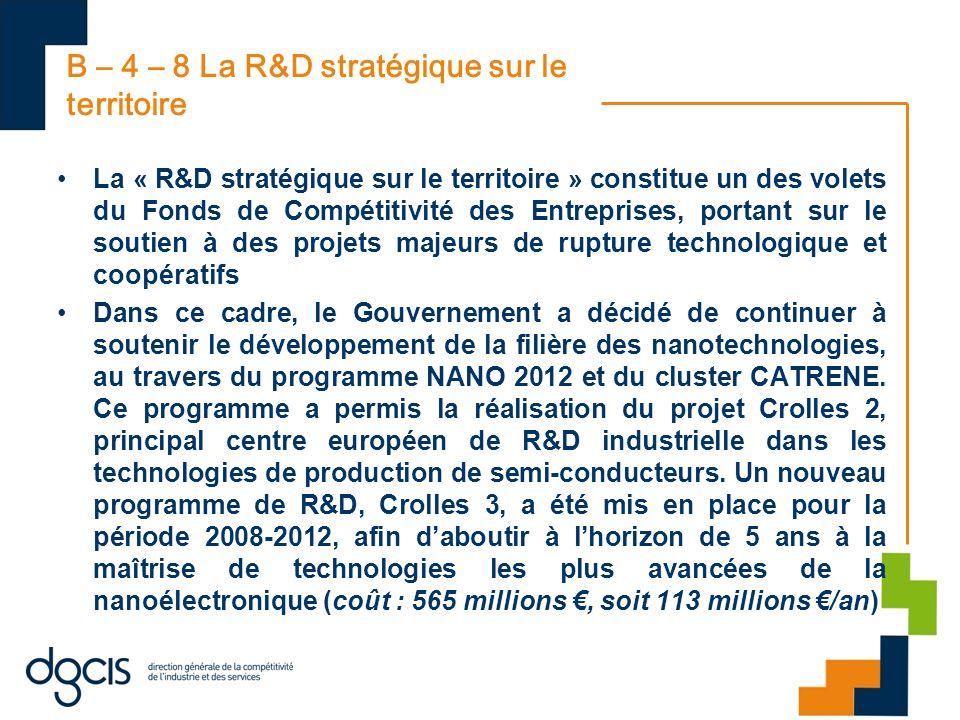 B – 4 – 8 La R&D stratégique sur le territoire