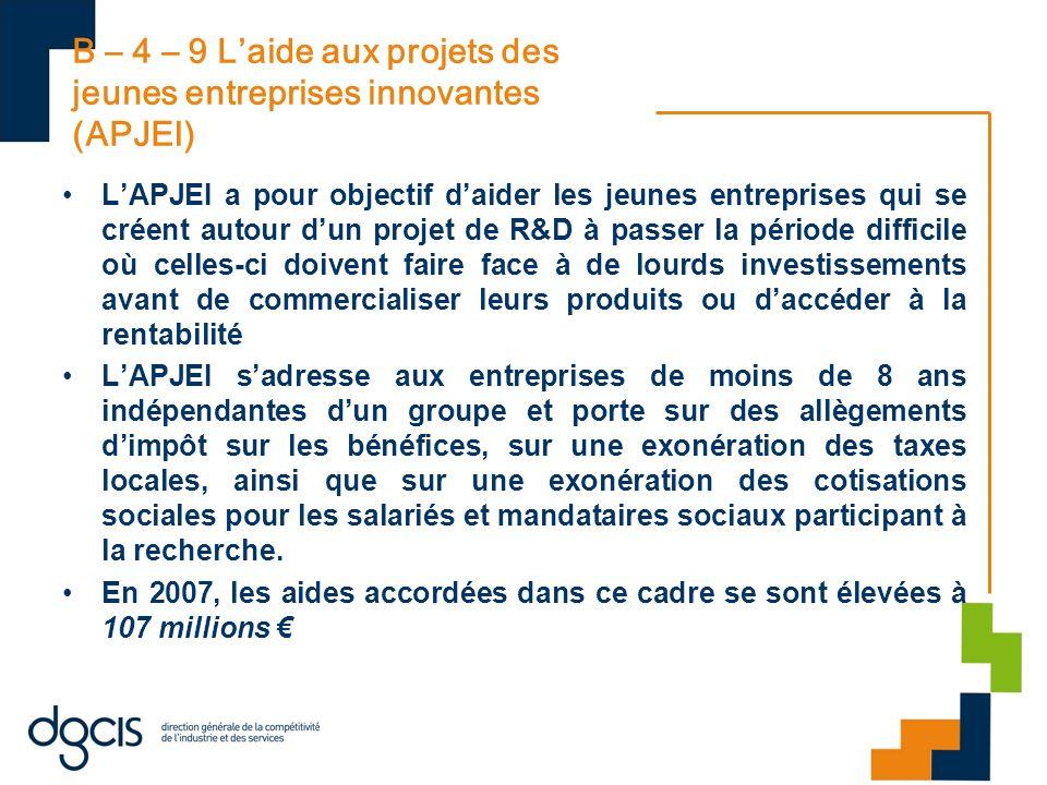 B – 4 – 9 L'aide aux projets des jeunes entreprises innovantes (APJEI)