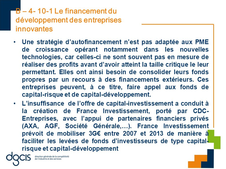 B – 4- 10-1 Le financement du développement des entreprises innovantes
