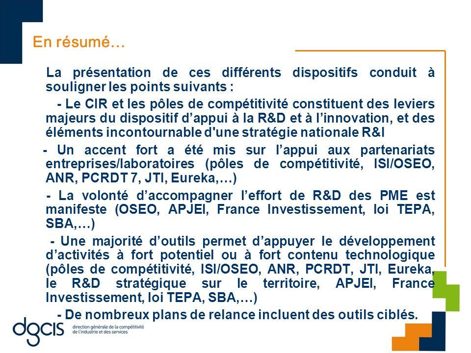 En résumé… La présentation de ces différents dispositifs conduit à souligner les points suivants :