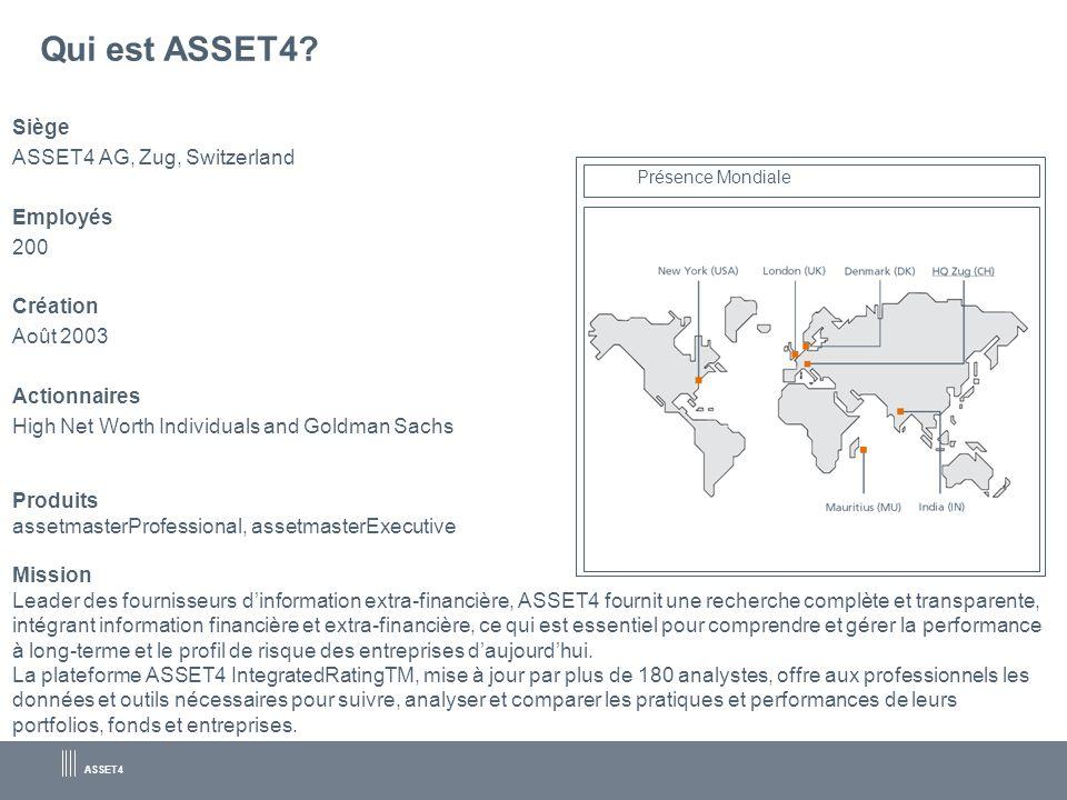 Qui est ASSET4 Siège ASSET4 AG, Zug, Switzerland Employés 200