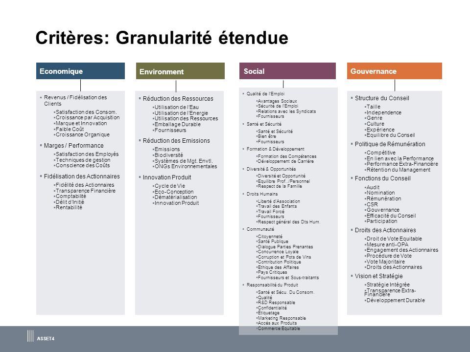 Critères: Granularité étendue