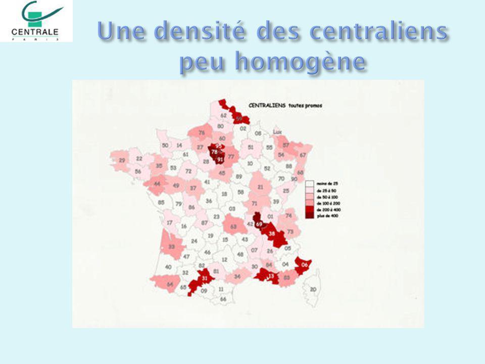Une densité des centraliens peu homogène
